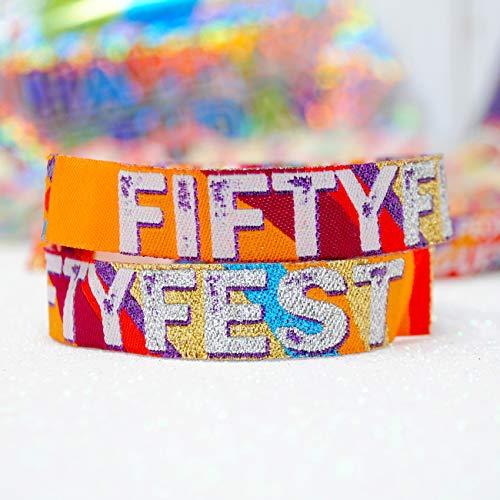 FIFTY FEST 50FEST 50. GEBURTSTAG Festival-Armbänder für Geburtstagsfeiern, Accessoires für Geburstagsfeiern, Birthday Party Wristbands