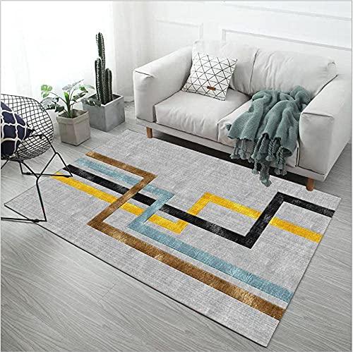 GONGFF Alfombras de área para sala de estar moderna alfombra hogar decorar antideslizante Mat negro dorado amarillo azul oscuro marrón grueso línea gris 140X200cm