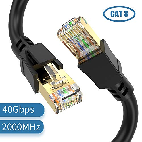 ConnBull Cable de Red Cat 8, Cable Ethernet Network Lan 40000Mbit/s con conector RJ45 (40 Gigabit, 2000MHz, cable SFTP), Compatible con CAT 6, CAT 5e, CAT 5, Cable Plano (5 Metro)