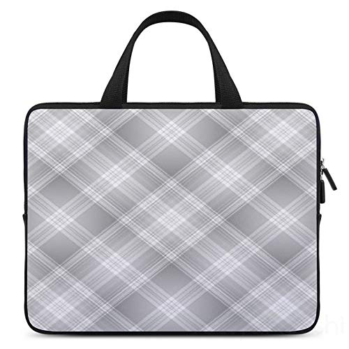 13 Inch Laptop Sleeve Gray Plaid Pattern Case/Water-Resistant Notebook Computer Pocket Tablet Briefcase Carrying Bag/Pouch Skin Cover For Acer/Asus/Dell/Lenovo