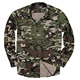 Men's Classic Long Sleeve Military Style Shirt (Army Green Camo, Modern Fit: Medium)