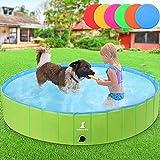 Wimypet Piscina Mascotas, Piscina Perros, Bañera Plegable para Niños/Perros/Gatos, Plegable Piscina de Baño al Aire Libre - Verde (120 x 30CM)