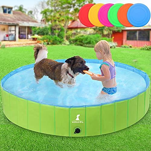 Wimypet Hundepools Für Hunde Große & Kleine, Hund Planschbecken mit PVC-rutschfest Verschleißfest, Faltbare Haustierpool mit Frisbee mit Sicher und langlebiger, für Hunde und Katzen160cm x 30cm