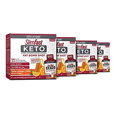 SlimFast Keto Fat Bomb Shot - - 10 Fl Oz - 10 Box - Pack of 4 - Pantry Friendly, Tangy Orange Crème, 40 Count