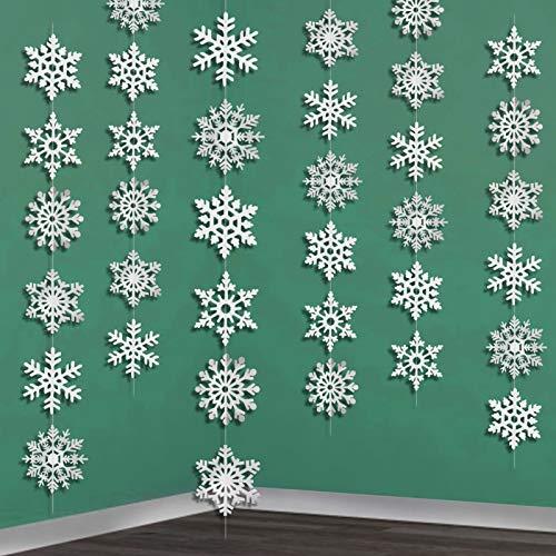 HOWAF Winter Girlande Schneeflocken Girlande, 6 x 2 Meter Weihnachtsdeko Schneehänger, Weihnachten Girlande Schneeflocken Deko für Winterdeko Zimmer Dekoration Weihnacht Deko Neujahr