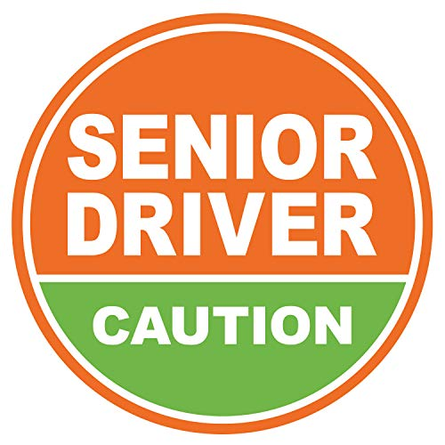GEEKBEAR Elderly Driver Magnet (Orange/Pistachio) – Senior Driver Car Magnet – Caution Senior Driver – Elderly Driver Sign Sticker Decal – Senior Driver Window Bumper Safety Sign