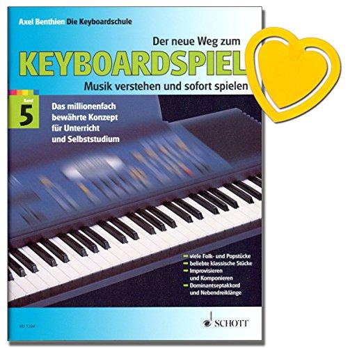 Der neue Weg zum Keyboardspiel Band 5 - Keyboardschule von Axel Benthien - Einstieg in Improvisation, Komposition, Harmonielehre - mit herzförmiger Notenklammer