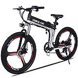VIVI Bicicletta Elettrica Pieghevole 350W/250W Bici Elettriche, Bici Elettrica per Adulti, Mountain Bike Elettrica con Ruota Integrata da 26', Batteria da 8 Ah, Velocità di 32 km/h (nero bianco)