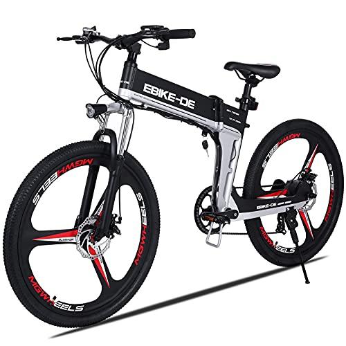 VIVI Bicicletta Elettrica Pieghevole 350W/250W Bici Elettriche, Bici Elettrica per Adulti, Mountain Bike Elettrica con Ruota Integrata da 26, Batteria da 8 Ah, Velocità di 32 km/h (nero bianco)