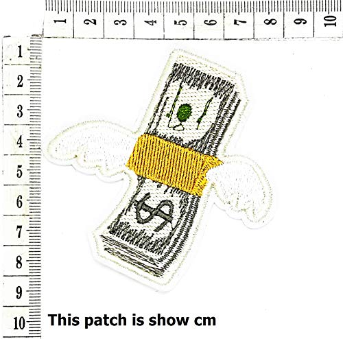 Fantastic Deal! Fly Wing Money Cash US Dollar Paper Currency Cartoon Chidren Kids Embroidren Iron Patch/Logo Sew On Patch Clothes Bag T-Shirt Jeans Biker Badge Applique