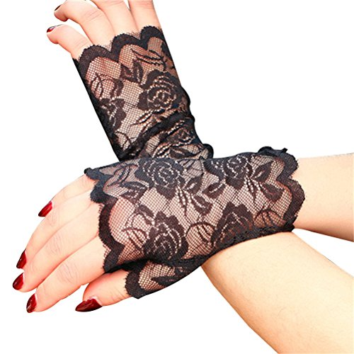 Tinksky Frauen Spitze Fingerlose Handschuhe Half Finger Braut Handschuhe UV Schutz Fingerlose Handschuhe Sunproof Handschuhe (Schwarz)