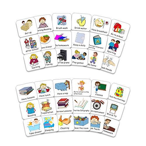 UCMD Magnetische Kinderkalendersammlung Aufgabenkarten für visuelle Zeitpläne, Kinderkalender und Verhaltenstabellen, 40 PCS-Aufgabenkarten (1)