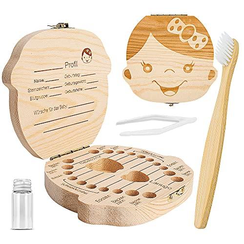 ZIIDOO Zahndose Milchzähne,Kostenlose Bambus Zahnbürste, Milchzahndose Mädchen aus Holz, Zahnfee Geschenk Zahnbox für Milchzähne Deutsch Version