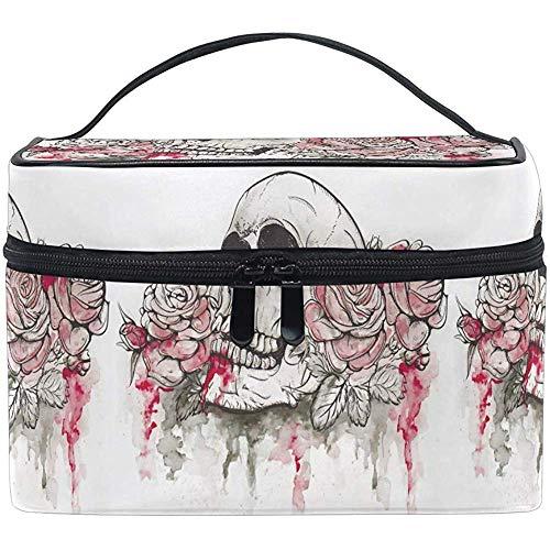 Cranio en bloemen make-up tas reistas organizer voor dames meisjes 9PJB-8PPI