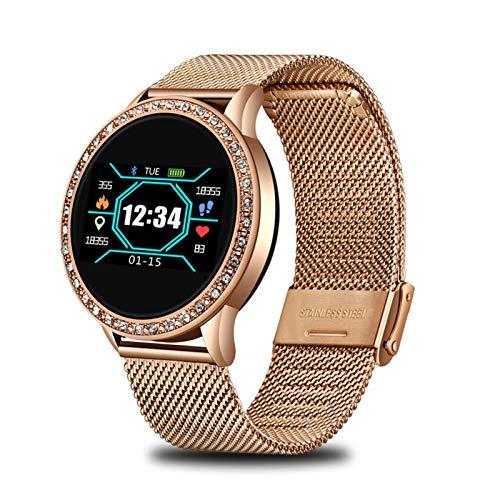 YDL New Ladies Smart Watch Women Presión Arterial Monitor De Ritmo Cardíaco Tracker Deporte Deporte Reloj De Despertador RECORDATURA SMARTHATCH (Color : Rose Gold)