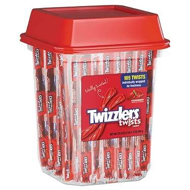 Regaliz Twizzlers de fresa, envueltos individualmente, bote de 2.0 lbs, se vende como 1 cada uno.