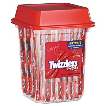 Strawberry Twizzlers Licorice Individually Wrapped 2lb Tub Sold as 1 Each