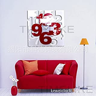 VariousWallClock Wall clock household pendulum clocks Creative straight and simple acrylic watches creative diy clock fashion decoration red and white