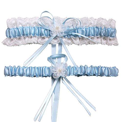 Juego de Liga de boda, novia perla mujeres novia boda Garters), bordes de encaje con Toss de distancia por icebuleor