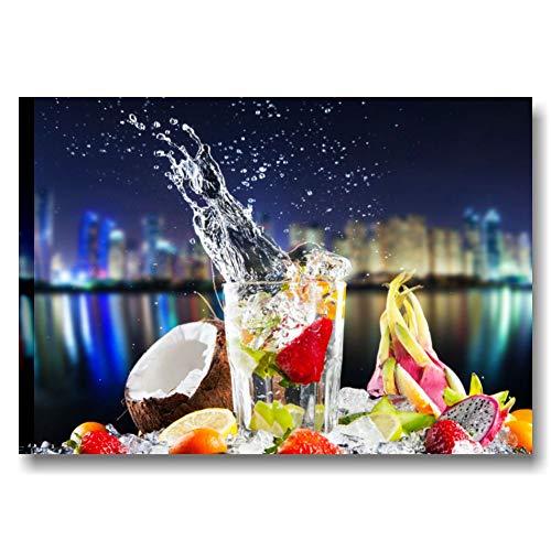 Quadri L&C ITALIA Quadro per Bar e Cucina Moderna con Frutta 70 x 50 Stampa su Tela da Parete Arredamento Ristorante - Fresh Cocktail Night 1