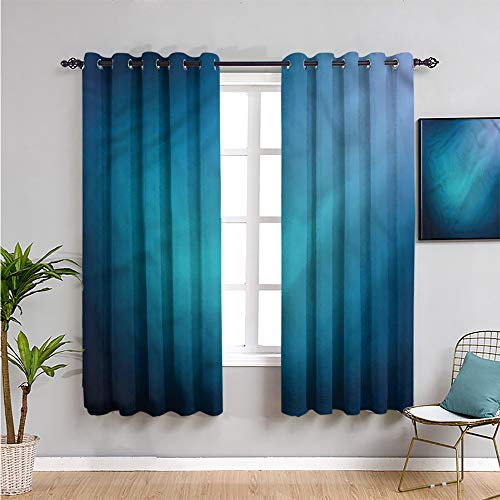 Navy Blue Blackout Curtains for Bedroom, Curtains 45 inch Length Ombre Style Background Repeatable use W63 x L45 Inch