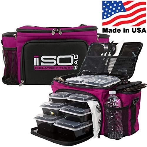 Isolator Fitness Isobag 6 Mahlzeiten Management System - Reverse Color (Violett/Schwarzer Akzent) Isolierte Mahlzeiten-Kühltasche