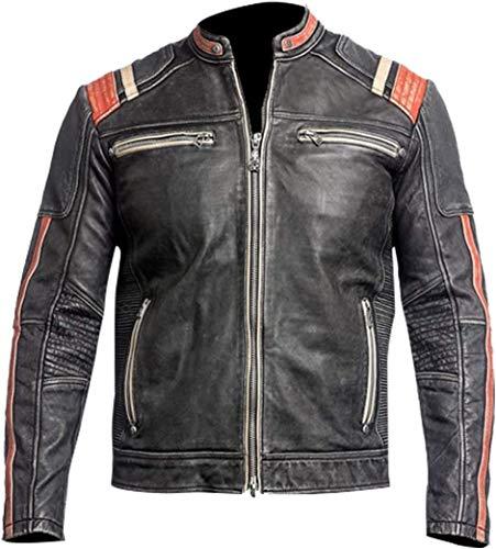 LP-FACON Herren Cafe Racer Retro Vintage Motorradjacke Biker Used-Look Lederjacke Gr. XXL, Schwarz
