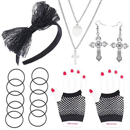 Haichen 80s Costume Accessories Set Bow Diadema Pendientes Guantes Collar Pulsera para Halloween 80s Party Madonna Outfit Accesorios Mujeres Niñas (Negro-1)