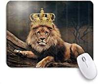 NIESIKKLAマウスパッド クラウン付き動物の大きな猫のライオン ゲーミング オフィス最適 高級感 おしゃれ 防水 耐久性が良い 滑り止めゴム底 ゲーミングなど適用 用ノートブックコンピュータマウスマット