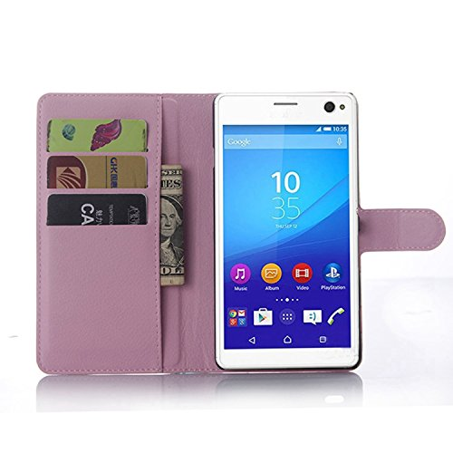 Tasche für Sony Xperia C4 Hülle, Ycloud PU Ledertasche Flip Cover Wallet Case Handyhülle mit Stand Function Credit Card Slots Bookstyle Purse Design rosa