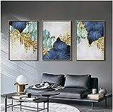 SXXRZA Juego de 3 Piezas de Estilo nórdico 50x70 cm sin Marco nórdico línea de lámina de Oro Azul Lienzo impresión de Carteles decoración Mural Abstracta Moderna