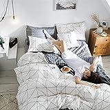 Juego de ropa de cama de 135 x 200 cm, algodón de 2 piezas, incluye 1 funda nórdica de 135 x 200 cm y 1 funda de almohada de 50 x 75 cm, suave y transpirable.