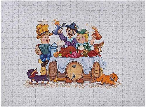 Oktoberfest Puzzle 1000 Piezas, Colorida ilustración de celebración de la Temporada de otoño bávaro con Cerveza y Cerdo, Multicolor