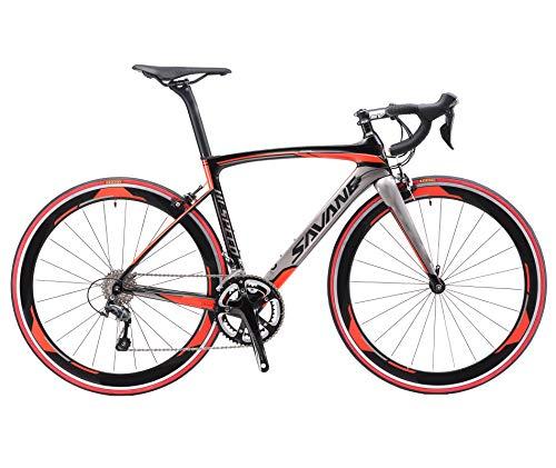 SAVADECK Warwind5.0 Carbon Rennrad 700C Vollcarbon Rahmen Rennräder mit Shimano 105 R7000 22-Fach Kettenschaltung Ultraleichtes Kohlefaser Fahrrad (Rot, 56cm)