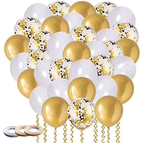 60 PCS Ballon Or, Ballon Anniversaire, Ballons Marriage, Doré Ballons Confettis, Ballon Blanc Fête Ballon pour Décorations , Mariage, Anniversaire, Se réunir, Cérémonie Décorations