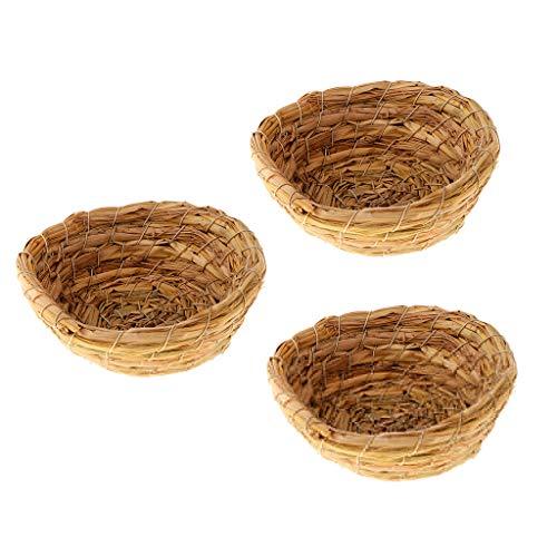 Buleerouy Caseta para p/ájaros exteriores de nido de p/ájaro de fibra de hierba natural