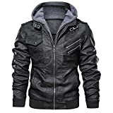 QQSA Men's Casual Pu Leather Hoodie Jacket Leather Jacket Mens Slim Fit Men's Faux Leather Jacket With Removable Hood (L, Grey)