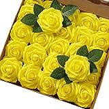 Msrlassn Flores Rosas Artificiales Espuma Rosa Falsa para Manualidades, Ramos de Novia, centros de Mesa, Despedidas de Soltera y Decoración del Hogar (Amarillo, 25 Piezas)