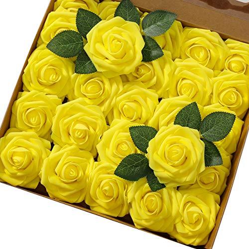 Msrlassn Künstliche Rosen Blumen Schaumrosen Foamrosen Kunstblumen Rosenköpfe Gefälschte Kunstrose Rose DIY Hochzeit Blumensträuße Braut Zuhause Dekoration (Gelb, 25 Stück)