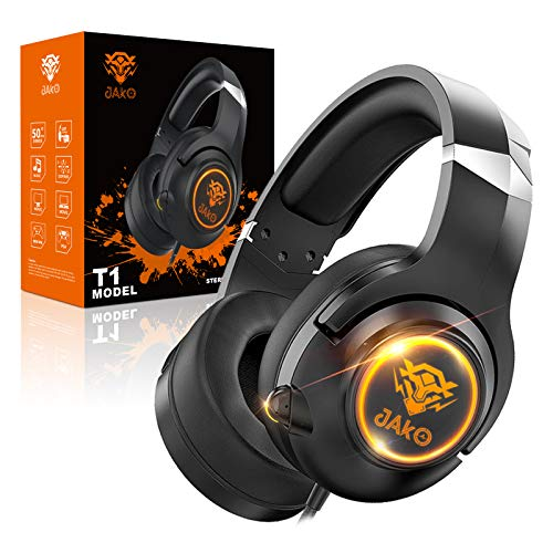 Headset for PS4 Xbox One Playstation 4 and Nintendo Switch, JAKO Noise Cancelling Over Ear Headphones with Mic, Headset with Soft Earmuffs for PC Notebook MP4 Mobile Phone and Ipad