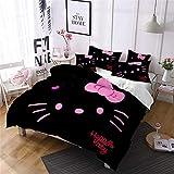 SMNVCKJ Hello Kitty - Juego de ropa de cama infantil con funda de almohada, microfibra, impresión digital 3D con cremallera de cadena (1,King 220 x 240 cm)