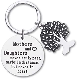 Mothers Day Gifts Keychain For Mothers And Daughters Never Truly Part, Mom To Daughter Gifts For Women Birthday Wedding Key Ring Tag Bonding Parting Gifts Keepsake From Mom Daughter