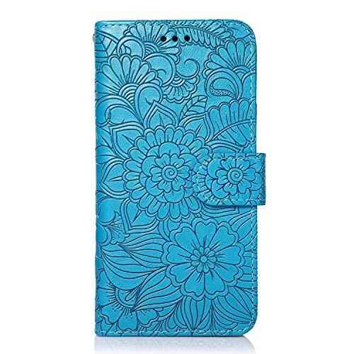 Gofrado - Funda protectora para teléfono Samsung Galaxy S7 Edge, diseño de flores, antigolpes, con 3 ranuras para tarjetas y 1 bolsillo Cash, color azul