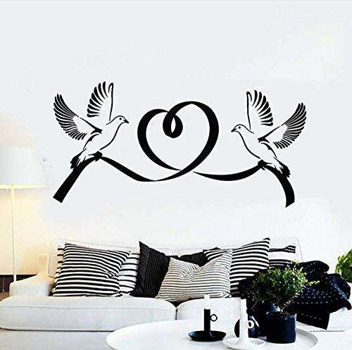 Pegatinas de pared Mural Palomas Pájaro Matrimonio Amor Corazón Romántico Pareja Dormitorio Sala de estar Vivero Iglesia Arte Mural Vinilo 57X28 cm