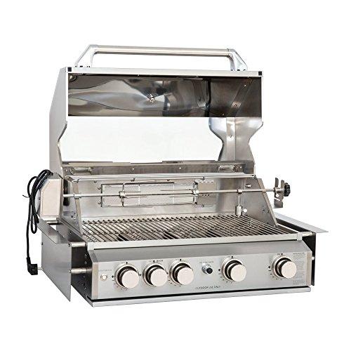 Mayer Barbecue ZUNDA Einbau-Gasgrill MGG-240 für Outdoorküchen, aus Edelstahl, 4 Hauptbrenner, Infrarot-Backburner, inkl. Drehspieß, Grillfläche 70 x 45 cm