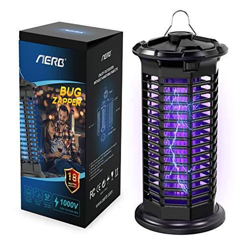 Aerb Elektrisches Insektenvernichter, 10W Insektenkiller Moskito Killer mit UV-Licht Fliegenkiller, Hochspannungslicht 1000V, für Hausgarten Innen Außenküche Wohnzimmer