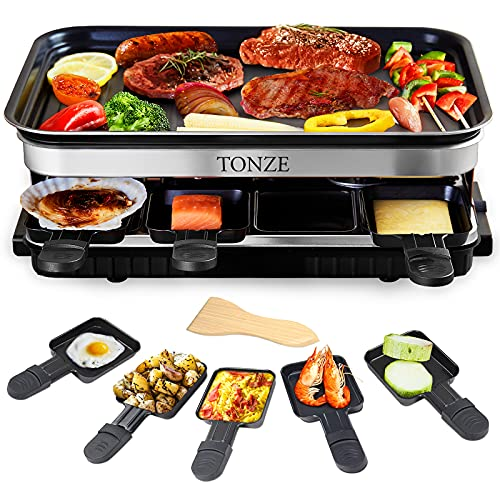 Electric Indoor Grill Korean BBQ Grill Raclette Table Grill Barbecue Outdoor Grill Set with 8 Mini Grill Cheese Pans, Non-stick 1500W Fast Heating with Adjustable Temperature Control