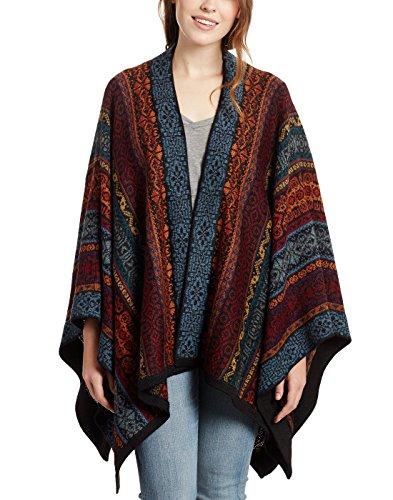 Invisible World Damen Alpaka Poncho – Ruana Cape aus 100% Alpaka Wolle für Herbst und Winter – Acacia
