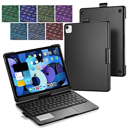 UIQELYS Funda con teclado para iPad Air 2020 10.9 (4ª generación), A2072/A2316/A2324/A2325, teclado retroiluminado con panel táctil, Bluetooth inalámbrico 360° (negro)