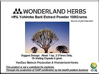WonderLand Herbs 8% yohimbine Yohimbe Bark Extract Powder/aphrodine 100 Grams